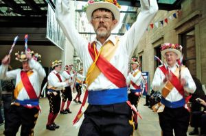 Another English Easter tradition is Morris dancing which involves guys dancing in ribbons, clogs, and sometimes funny hats. According to Blackadder, it's a very lame dance and one he doesn't like.