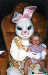 This girl on the Bunny's lap is taking this photo op quite well. Yet, this Flopsy seems to have murder on the mind.
