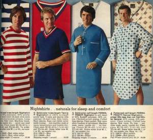 I'm sure trying to revive nightshirts in the 1970s really didn't go so well for whoever advertised this. Seriously, these guys look stupid in them, especially in a diamond pattern.