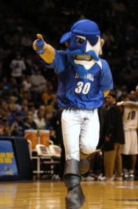 Now there's nothing wrong with a school having a pirate mascot. However, a pirate mascot with a blue and white painted face? What the fuck? Seriously, why? Looks like an angry smurf.