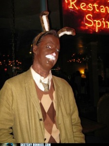 Okay, not only is this chocolate bunny seems like a substitute teacher from your nightmares, it's actually quite offensive if you see that it's a white guy without makeup, especially without the bunny ears.