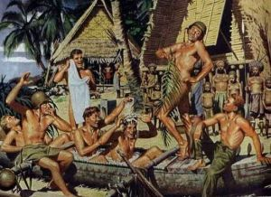 Seems like the Pacific Island natives aren't pleased with the American GIs frolicking with tropical brain fever. Still, there's a lot of homoerotic subtext I can't even list here.