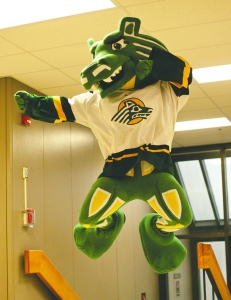 Just because something looks good on a totem pole as indigenous art, doesn't mean it will make a good mascot. Sure he's supposed to be a seawolf but it seems like he seems to be an offspring of the Loch Ness Monster and a Mustang.