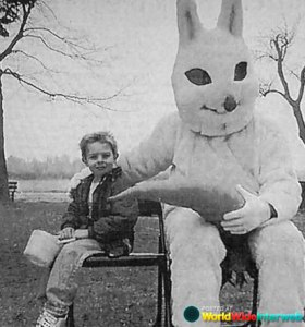 Due to the unfortunate carrot placement and the creepy look on that bunny's face, then no, kid. Absolutely not. Just run away like hell, kid. Seriously, you don't want to know what this bunny is up to.