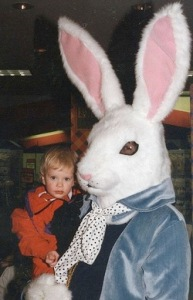 Of course, this child is probably going to experience a lifetime of giant bunny nightmares. Yet, I'm not sure whether this one laughs maniacally or not.