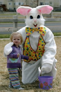 Yeah, I wouldn't want to go egg hunting with this Easter Bunny either, especially one that's likely to appear in children's nightmares.