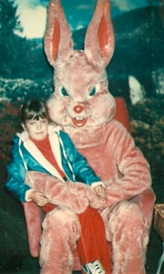 I'd hate to know what this nefariously pink Peter Cottontail has on his mind. Oh, yes, he's pure evil as you can see in his eyes.