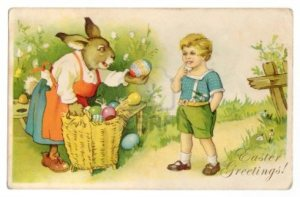 Remember, kids, don't ever accept Easter eggs from strange rabbits. Seriously, you have no idea what their agenda is. Besides, the kid is creepy.