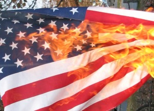 When it comes to flag desecration, this is perhaps the only way to disrespect the stars and strips that will get people wanting to put you in jail.
