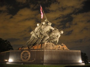 The American flag flies continuously at the US Marine War Memorial in Washington D. C. which depicts the statue of the soldiers in the Iwo Jima flag raising photo, which was staged as said in Flags of Our Fathers. What happened to the men in it is pretty sad.