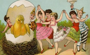 Now I'm not sure why these people have to dance around the chick. Must be some sort of cult ritual before they sacrifice it by setting the nest on fire.