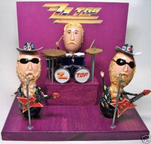Yes, that's ZZ Top all right, which hail all the way from Texas. Of course, this person did a great job depicting the frontmen's beards.