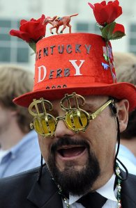 Yes, wearing ridiculous Kentucky Derby hats no longer seems limited to women anymore. I mean this guy seems more suited for a different sporting event or night club.
