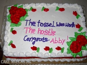 While Abby may be a graduate, the cake decorator's strong suit certainly wasn't in spelling, reading, or English. Seriously, this is bound to give English teachers nightmares.