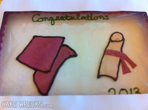 Seriously, the diploma looks as like a severed finger with a ribbon tied on it. Apparently, someone is very bad at drawing a scroll or forgot to put a swirl on the top just so it doesn't horrify us.