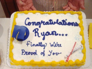 I have to wonder what kind of relationship Ryan has with his parents. Of course, his folks will probably be disappointed in him once more when he fails to get a job other than as a waiter at Red Lobster.