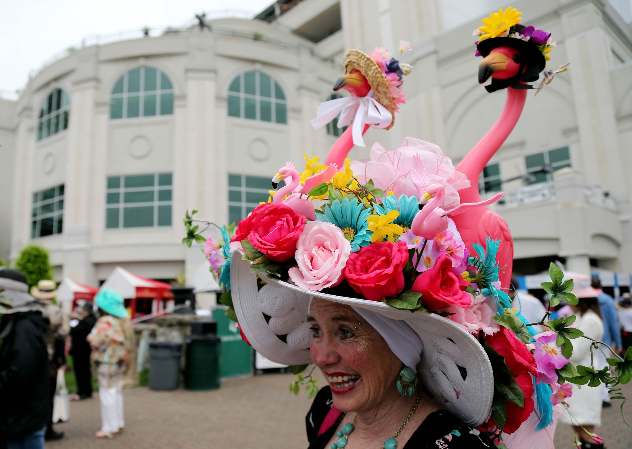 fda671478d5 Flower garden flamingos  Making Kentucky Derby hats and gardens tackier  since someone thought that they