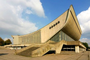 This is the Palace of Concerts and Sports in Vilnius, Lithuania. But, yeah, it does kind of remind me of a banana for some reason. Must be the shape.