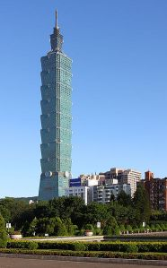 This building is the Taipei 101 in Taiwan which was once the tallest building in the world. Still, it's meant to withstand earthquakes and typhoons for better or for worse. But you can't help but think it's probably more suitable for Las Vegas.