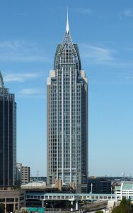 It's actually the RSA Battle House Tower in Mobile, Alabama and the tallest in the city. I think it's an office complex and hotel. But still, you can totally imagine Lex Luthor living there, right?