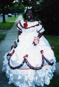 Sorry for being stereotypical here, but I'm not sure if a Southern belle dress would be seen as appropriate apparel for a black girl, according to some historians. Still, to each his own. After all, if you want to wear a dress like that to prom, that's your business. It just that the dress seems like a relic of 60s fashion. And by that, I mean 1860s.