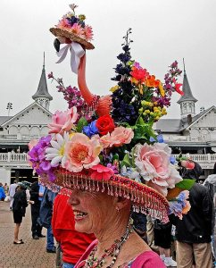 Now this hat is outrageous enough without the flamingo. But with it, it's just tacky. Even more ridiculous is that the flamingo also has a hat, too.