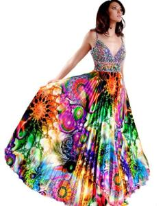This dress's design was inspired by the designer's drug trip on the brown acid at Woodstock during his hippie days. Can you dig it, man?
