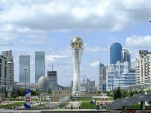 This is the 344ft Bayterek Tower in Astana, Kazakhstan. It's an observation tower representing a popular tree holding a golden egg. Of course, the conspiracy theorists will go crazy on this one.