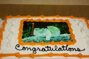 Sure this is a graduation cake with LOLcats, but still, it's quite funny having a cat picture on a graduation cake. Nevertheless, I hope Mr. Tibbles didn't overdo on the catnip with his Alpha Theta Meow fraternity brothers.