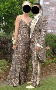 Unless your school's theme for prom is based off The Deer Hunter, I would really advise against it. Seriously, camo is proper during deer season, not prom season. Get it through your heads!