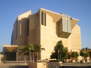 Actually this is the Cathedral of Our Lady of the Angels in Los Angeles, California. Look, I'm perfectly fine with modern Catholic Church architecture and I know some of these buildings are nicer on the inside. However, this is just an architectural travesty.