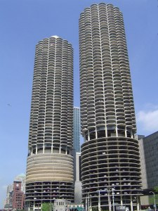 Actually these are the Marina City Towers of Chicago. Now the bottom ten floors are used for parking while the rest for condos. Still, this is quite a skysore place with barely an character.