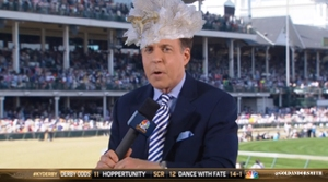 NBC sportscaster Bob Costa looks so stunning in Johnny Weir's white hat. Not sure if it matches his suit though.