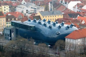 This is actually the Kunsthaus Graz in Graz, Austria. It's a contemporary art museum, which is perhaps fitting. But still resembles an alien monster from another dimension.