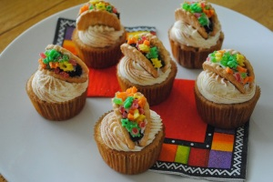 Now these are made from cookies, candies, and icing to put them together. But the cupcakes themselves are vanilla.