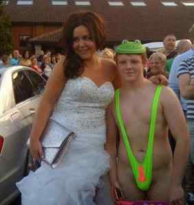 Now the girl is actually decently dressed. The guy on the other hand, is a different story. Seriously, nobody wants to see you dressed for prom as Borat at the beach.