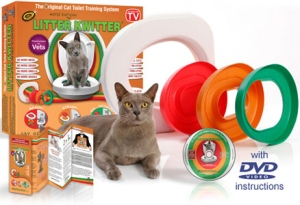 Tired of cleaning litter boxes? Wanting to potty train your cat? Well, say hello to Litter Kwitter Cat Toilet Training System. As with getting your cat to use it, well, good luck with that.