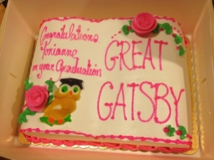 Seriously, I'm not sure The Great Gatsby is the kind of book you put on a graduation cake. Seriously, it's a book about a guy who changes his whole identity and gets rich through bootlegging so he could win the heart of his ex-girlfriend who's already married with a kid. Also, decorator failed to follow directions.
