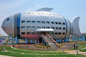 This is the office for the National Fisheries Development in Rajendranager, Hyderabad, India. It's supposed to be a flounder. Still, I wonder how their workers feel about having to work in a giant fish every day.