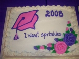 "Yeah, seems like another decorator flunked reading comprehension, listening, and following directions. I think this person wanted sprinkles on a cake, not the words, ""I want sprinkles!"""