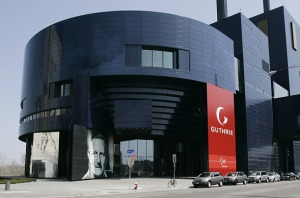 This is the Guthrie Theater in Minneapolis, Minnesota. It was designed by a French guy and named after an Englishmen. Still, pretty horrendous and more suited as an abode for an evil overlord.