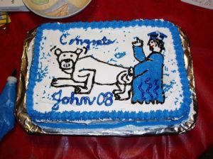 Seems like the graduate is doing a really terrible thing to the school mascot. Now if I had cake like this at my grad party, let's say it wouldn't go well with my relatives with young children.