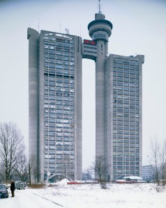 This is the Genex Tower in Belgrade, Serbia which is one of the largest towers in Eastern Europe. It has two towers connected by a revolving restaurant on the top. One tower is occupied by the Genex group, the other a residential area.