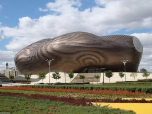 This is the Ordos Museum in China constructed by the MAD studio. Still, why they thought it ought to be designed like a giant turd, I have no idea.