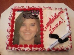 I think this one made the news. I think the family wanted a cap on this girl's head for her graduation cake. Guess there was some misunderstanding with the order.