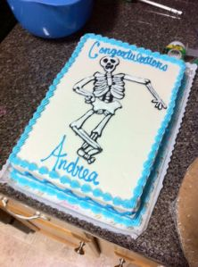 Sure some girls might major in medicine or have a thing with the macabre. But that doesn't mean you should put a skeleton on a graduation cake. I mean, that's just messed up.
