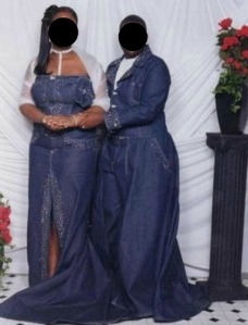 On second thought, no, please don't. Most workplaces consider the material as below business casual, let alone a bad material for formal wear. Still, I don't know which one of this couple is more likely to trip over: the girl with the train or the guy in the elephant bell pants.