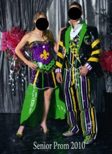 Wait a minute, Mardi Gras was in February. Prom season is in April and May. So isn't it a little late to dress for Mardi Gras for prom?