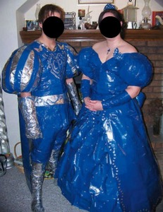 Of course, these prom outfits seem less suitable for ye olde prom and more appropriate for the ye olde Renaissance faire. Also, what's with the codpiece? Seriously, that don't look right.