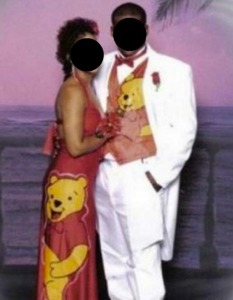 Now this set up doesn't seem skanky at all. But it's just that years from now when their kids see this prom picture, they'll probably be laughing their asses off. Seriously, I know the guy is going along with the Pooh theme because he wants some poo tang.